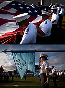 The South Carolina Corps of Cadets participates in pregame ceremonies before a nonconference game between The Citadel and North Greenville University at Johnson Hagood Stadium in Charleston, South Carolina on Saturday, September 18, 2021.<br /> <br /> Credit: Cameron Pollack / The Citadel Athletics