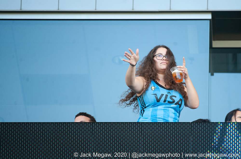 An Argentina fan watches group stages of the 2020 Los Angeles Sevens at Dignity Sports Health Park in Los Angeles, California. February 29, 2019. <br /> <br /> © Jack Megaw, 2020