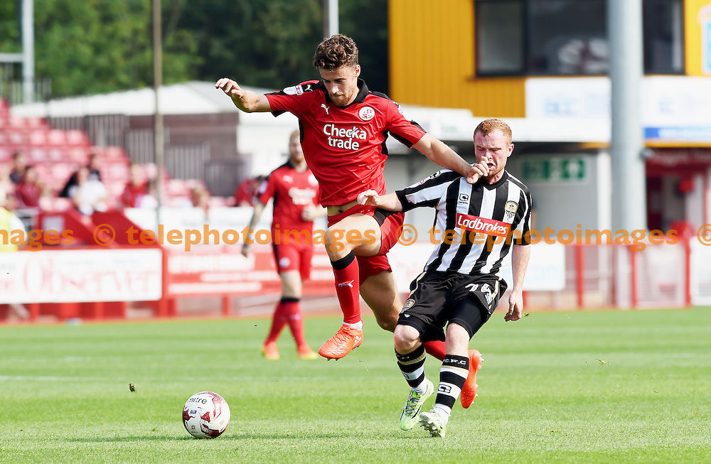 Alex Davey of Crawley  gets forward during the Sky Bet League 2 match between Crawley Town and Notts County at the Checkatrade Stadium in Crawley. August 27, 2016.<br /> Simon  Dack / Telephoto Images<br /> +44 7967 642437