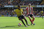 Ikechi Anya of Watford in action with Oriol Romeu of Southampton marking. Barclays Premier League, Watford v Southampton at Vicarage Road in London on Sunday 23rd August 2015.<br /> pic by John Patrick Fletcher, Andrew Orchard sports photography.