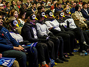 """28 APRIL 2019 - DES MOINES, IOWA: People dressed in penguin outfits during a Town Hall event held by Andrew Yang in Des Moines. The """"penguins"""" wanted to ask Yang questions related to climate change. Yang, an entrepreneur, is one of 20 Democrats running for the Democratic nomination for the US Presidency in 2020. Iowa hosts the the first election event of the presidential election cycle. The Iowa Caucuses will be on Feb. 3, 2020.                 PHOTO BY JACK KURTZ"""