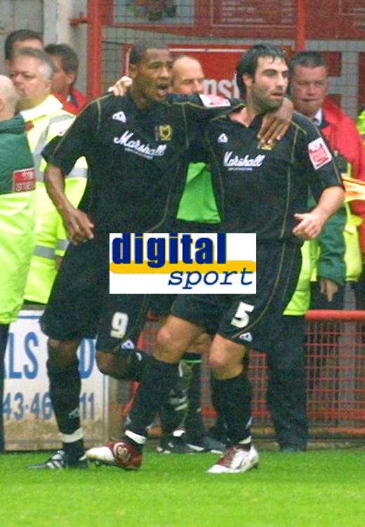 Photo: Dave Linney.<br />Walsall v Milton Keynes Dons. Coca Cola League 1.<br />08/10/2005. Craig Morgan celebrates/right with Clive Platt. But all to no avial as the ball was ruled offside