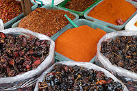 YANGON, MYANMAR - CIRCA DECEMBER 2013: Variety of spices in the street market of Yangon.