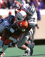 Kansas State linebacker Ben Leber (52) during game action against Oklahoma State at Lewis Field in Stillwater, Oklahoma in 1999.