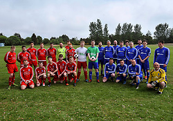 Pictured: Ryan (left) and Daniel (right) go head to head as team captains with the teams before the match.<br /> <br /> Brothers Ryan and Daniel Flannigan from Armadale, West Lothian organised a charity football match and fun day in aid of Macmillan Cancer Support after Ryan's partners father Terry McMillan was diagnosed with terminal cancer. The brothers have raised several hundred pounds for the charity.<br /> <br /> © Dave Johnston / EEm