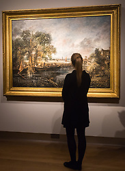 "Christie's, St James, London. A woman admires admire the brush strokes of one of Britain's most loved painters as Christie's in London announce the sale of a work of genius by John Constable, the full scale six-foot ""sketch"" for ""View on the Stour near Dedham"" painted between 1821 and 1822, which is expected to fetch between £18-22 million at auction."