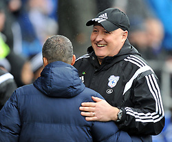 Cardiff City Manager Russell Slade embraces Brighton & Hove Albion Manager Chris Hughton - Mandatory by-line: Paul Knight/JMP - Mobile: 07966 386802 - 20/02/2016 -  FOOTBALL - Cardiff City Stadium - Cardiff, Wales -  Cardiff City v Brighton and Hove Albion - Sky Bet Championship