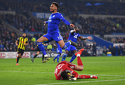 Cardiff City's Josh Murphy (left) and Watford goalkeeper Ben Foster battle for the ball during the Premier League match at the Cardiff City Stadium.