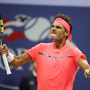 2017 U.S. Open Tennis Tournament - DAY SIX. Rafael Nadal of Spain celebrates a break against Leonardo Mayer of Argentina in the Men's Singles round three match at the US Open Tennis Tournament at the USTA Billie Jean King National Tennis Center on September 02, 2017 in Flushing, Queens, New York City.  (Photo by Tim Clayton/Corbis via Getty Images)