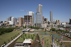 Stock photo of an aerial view of the park and skyline from the George R. Brown Convention Center