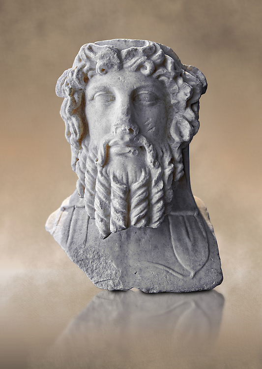 Double sided Roman herm of Dionysus from the mid 2nd cent. AD excavated from the via Sallustiani, Rome. This bust shows Dionysus with his traditional band around his head, he appears as a youthful man on one side and as a mature man with a beard on this sid.   The National Roman Museum, Rome, Italy .<br /> <br /> If you prefer to buy from our ALAMY PHOTO LIBRARY  Collection visit : https://www.alamy.com/portfolio/paul-williams-funkystock/roman-museum-rome-sculpture.html<br /> <br /> Visit our ROMAN ART & HISTORIC SITES PHOTO COLLECTIONS for more photos to download or buy as wall art prints https://funkystock.photoshelter.com/gallery-collection/The-Romans-Art-Artefacts-Antiquities-Historic-Sites-Pictures-Images/C0000r2uLJJo9_s0
