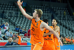 Henk Norel of Netherlands celebrates after winning during basketball match between Georgia and Netherlands at Day 1 in Group C of FIBA Europe Eurobasket 2015, on September 5, 2015, in Arena Zagreb, Croatia. Photo by Vid Ponikvar / Sportida