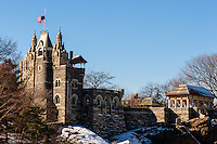 US, New York City, Central Park. Belvedere Castle on top of Vista Rock.