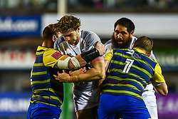 Richie Gray of Toulouse is tackled by Gethin Jenkins and Matthew Rees of Cardiff Blues - Mandatory by-line: Craig Thomas/JMP - 14/01/2018 - RUGBY - BT Sport Cardiff Arms Park - Cardiff, Wales - Cardiff Blues v Toulouse - European Rugby Challenge Cup
