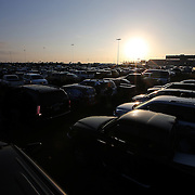 The infield parking areas are filled up prior to the 56th Annual NASCAR Daytona 500 race at Daytona International Speedway on Sunday, February 23, 2014 in Daytona Beach, Florida.  (AP Photo/Alex Menendez)
