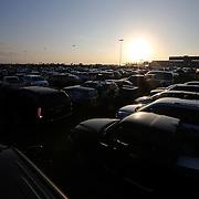 The infield parking areas are filled up prior to the 56th Annual NASCAR Daytona 500 race at Daytona International Speedway on Sunday, February 23, 2014 in Daytona Beach, Florida.  (AP Photo/Alex Menendez)