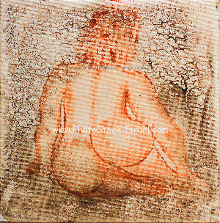Sitting nude woman as seen from behind. Photograph of an Acrylic painting by Vladi Alon. Property release available