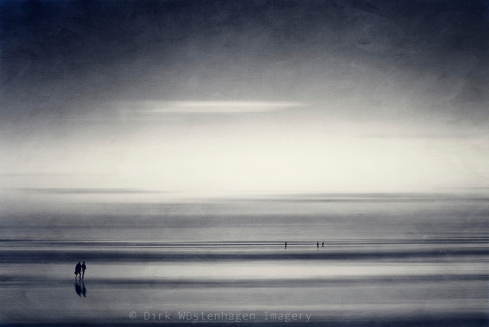Abstraction of people taking a walk on the beach. Manipulated photography.<br /> <br /> Prints & more: http://society6.com/DirkWuestenhagenImagery/new-start-V78_Print