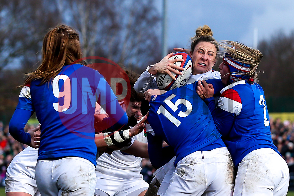 Sarah McKenna of England Women is tackled - Mandatory by-line: Robbie Stephenson/JMP - 10/02/2019 - RUGBY - Castle Park - Doncaster, England - England Women v France Women - Women's Six Nations