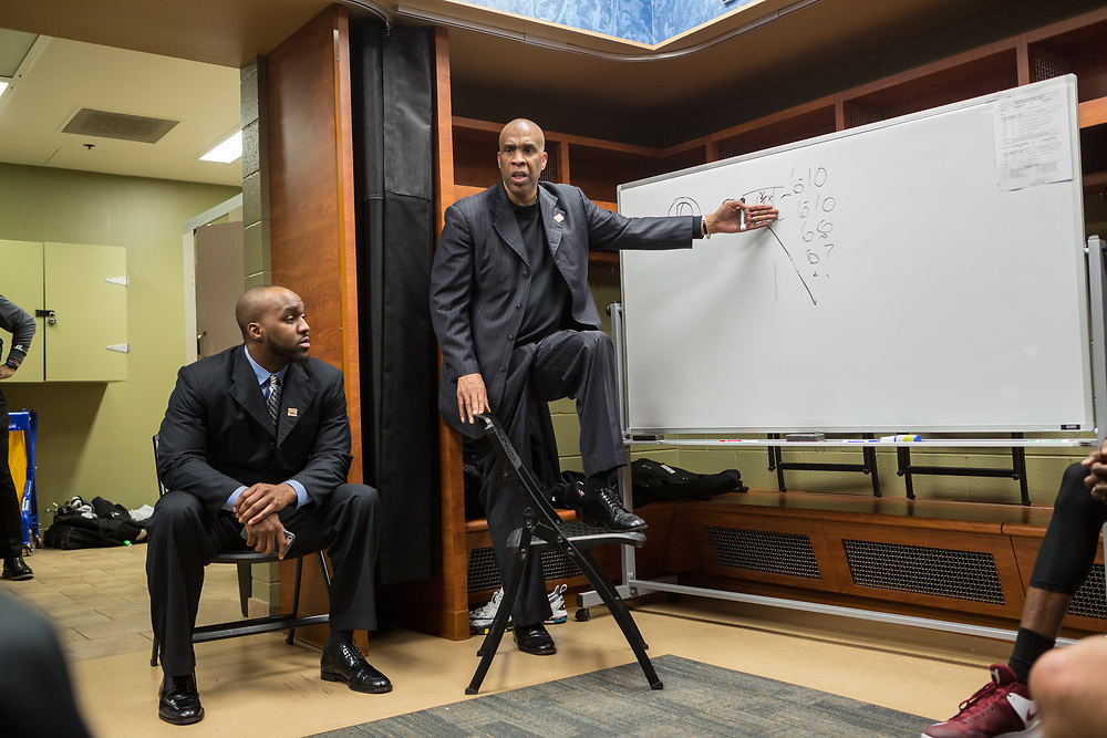 Greenville, South Carolina - March 17, 2017: Coach Mike Davis talks to his team at halftime during the game. The TSU Tigers played the UNC Tarheels in the first round of the 2017 NCAA Men's Tournament (Michael Starghill, Jr. for The Undefeated)