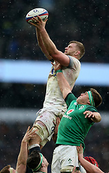 England's George Kruis wins a lineout during the NatWest 6 Nations match at Twickenham Stadium, London.