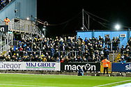 Travelling Wimbledon fans in the away terrace during the EFL Sky Bet League 1 match between Bristol Rovers and AFC Wimbledon at the Memorial Stadium, Bristol, England on 23 October 2018.