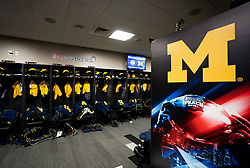 The Michigan locker room prior to the Chick-fil-A Peach Bowl at the Mercedes-Benz Stadium  Saturday, December 29, 2018, in Atlanta. ( Paul Abell via Abell Images for Chick-fil-A Peach Bowl)