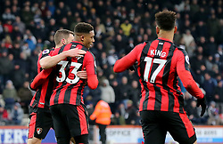 AFC Bournemouth's Jordon Ibe (centre) celebrates scoring his side's first goal of the game during the Premier League match at the Vitality Stadium, Bournemouth.