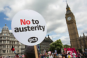 Peoples Assembly demonstration arrives in Parliament Square: No More Austerity - No To Racism - Tories Must Go, on Saturday July 16th in London, United Kingdom. Tens of thousands of people gathered to protest in a march through the capital protesting against the Conservative Party cuts. Almost 150 Councillors from across the country have signed a letter criticising the Government for funding cuts and and will be joining those marching in London. The letter followed the recent budget in which the Government laid out plans to cut support for disabled people while offering tax breaks for big business and the wealthy.