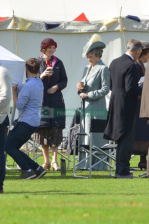 Downton Abbey cast members Dame Maggie Smith (Dowager Countess of Grantham) and Laura Carmichael (Lady Edith Crawley) are seen on the set of the Downton Abbey Movie which is filming in Wiltshire today.<br /><br />25 September 2018.<br /><br />Please byline: Vantagenews.com