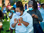 24 JUNE 2020 - DES MOINES, IOWA: About 100 members of Black Lives Matter attended a self defense class in Evelyn K. Davis Park in Des Moines Wednesday.       PHOTO BY JACK KURTZ