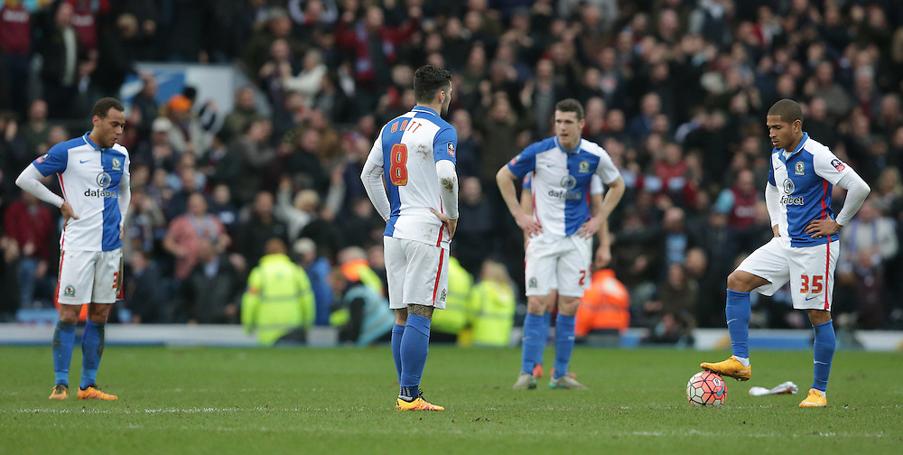 Blackburn Rovers' Simeon Jackson waits to restart after his team concedes a fifth goal in the last minute of the match<br /> <br /> Photographer Stephen White/CameraSport<br /> <br /> Football - The FA Cup Fifth Round - Blackburn Rovers v West Ham United - Sunday 21st February 2016 - Ewood Park - Blackburn<br /> <br /> © CameraSport - 43 Linden Ave. Countesthorpe. Leicester. England. LE8 5PG - Tel: +44 (0) 116 277 4147 - admin@camerasport.com - www.camerasport.com