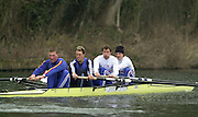 Henley. England, GB Rowing crews training on Henley Reach.<br /> Photo Peter Spurrier.<br /> 11/03/2004 - British International Rowing - Training<br /> GBR M4- [left to right] stroke Matt Pinsent,  3 James Cracknell,  2 Josh West and bow Stephen Williams..   [Mandatory Credit. Peter SPURRIER/Intersport Images]