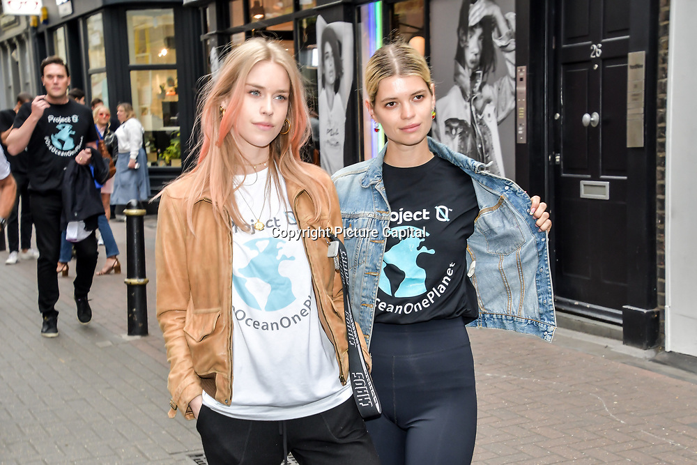 Mary Charteris and Pixie Geldof for  World Ocean Day - Project 0 Ambassadors unveil One Ocean One Planet on Carnaby Street, on 4 June 2019, London, UK.