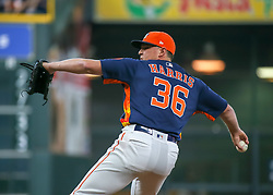 April 29, 2018 - Houston, TX, U.S. - HOUSTON, TX - APRIL 29:  Houston Astros relief pitcher Will Harris (36) takes over the mound in the top of the seventh inning during the baseball game between the Oakland Athletics and Houston Astros on April 29, 2018 at Minute Maid Park in Houston, Texas.  (Photo by Leslie Plaza Johnson/Icon Sportswire) (Credit Image: © Leslie Plaza Johnson/Icon SMI via ZUMA Press)