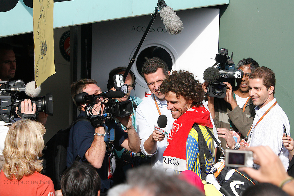 Roland Garros. Paris, France. May 25th 2008..Gustavo KUERTEN answers interviews after his last tennis game as a professional player against Paul-Henri MATHIEU....