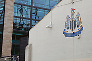Newcastle United crest on a local pub during the EFL Sky Bet Championship match between Newcastle United and Burton Albion at St. James's Park, Newcastle, England on 5 April 2017. Photo by Richard Holmes.