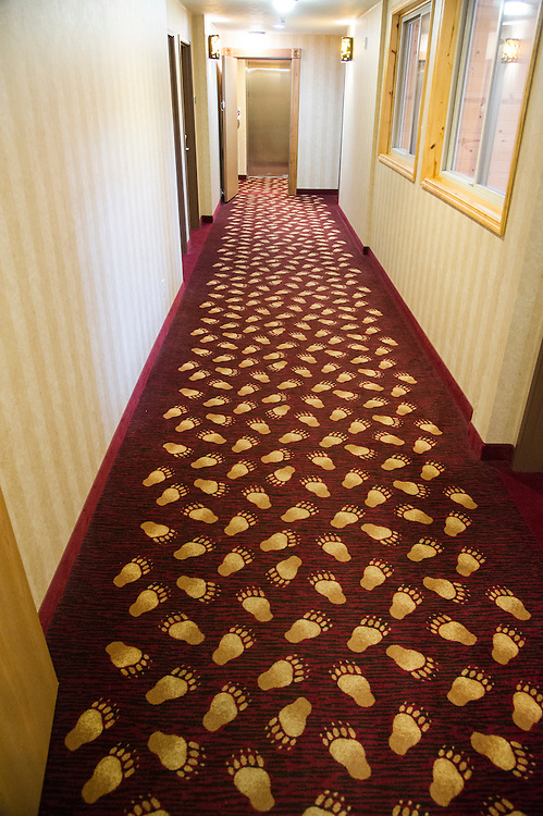 Themed carpet of The Holiday Inn Express-Lakeview of Munising, Michigan.
