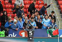 Fotball Tippeligaen Rosenborg - Sandnes Ulf<br /> 28 april 2013<br /> Lerkendal Stadion, Trondheim<br /> <br /> Sandnes Ulfs keeper Sean McDermott og Edier Frejd takker sine tilreisende supportere etter kampen<br /> <br /> <br /> Foto : Arve Johnsen, Digitalsport