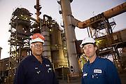 Oil refinery at dawn.