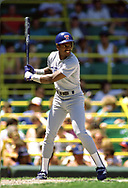 CHICAGO - 1988:  Ruben Sierra of the Texas Rangers bats during an MLB game versus the Chicago White Sox during the 1988 season at Comiskey Park in Chicago, Illinois. (Photo by Ron Vesely) Subject:   Ruben Sierra