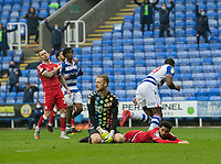 Bristol City's goalkeep Daniel Bentley (centre) shows his disappointed after Reading's Yakou Meite (right) scores his side's second goal  <br /> <br /> Photographer David Horton/CameraSport<br /> <br /> The EFL Sky Bet Championship - Reading v Bristol City - Saturday 28th November 2020 - Madejski Stadium - Reading<br /> <br /> World Copyright © 2020 CameraSport. All rights reserved. 43 Linden Ave. Countesthorpe. Leicester. England. LE8 5PG - Tel: +44 (0) 116 277 4147 - admin@camerasport.com - www.camerasport.com