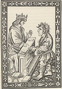 'Dialogue of Solomon and Marcolf'', a medieval work  in which Solomon (c1015-977 BC) King of Israel is in discussion with Marcolf a European medieval peasant. Illustration from a late 15th century early printed edition.'