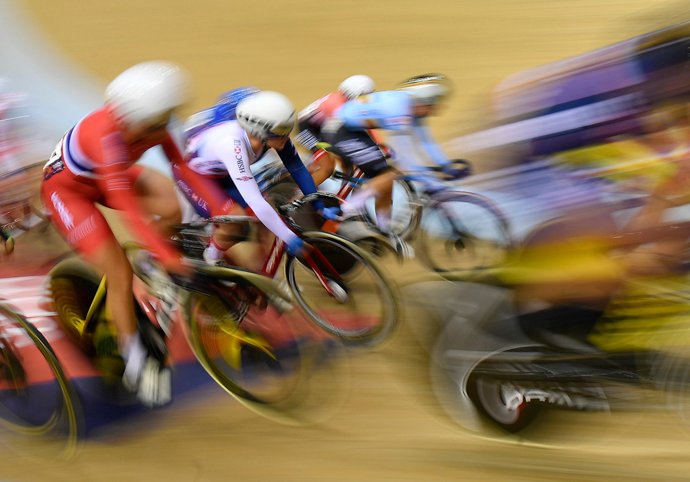 Competitors ride in the Women's 10km Scratch Race at the Glasgow 2018 European Track Cycling Championships, Glasgow, Britain, 03 August 2018.