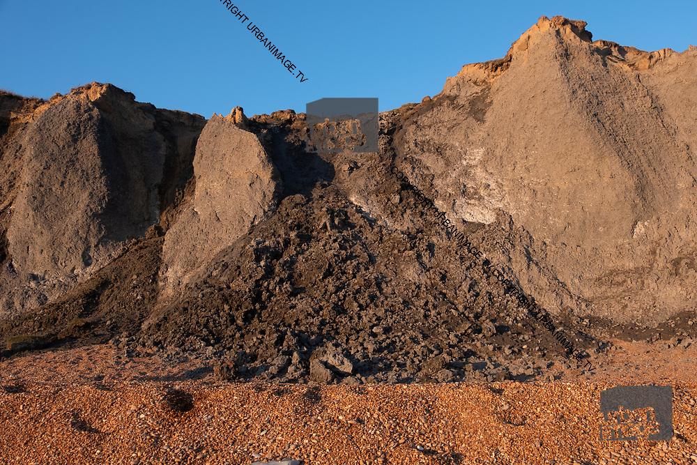 Jurassic Coast Dorset. landslide at Eype Beach