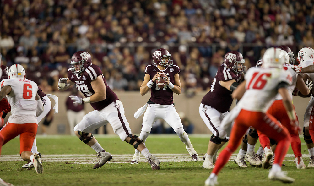 Texas A&M quarterback Nick Starkel (17) looks to pass down field against New Mexico during the second quarter of an NCAA college football game on Saturday, Nov. 11, 2017, in College Station, Texas. (AP Photo/Sam Craft)