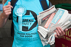 © Licensed to London News Pictures. 27/07/2019. Ystradgynlais, Powys, Wales, UK. Campaigning is in full swing in Ystradgynlais as Des Parkinson, retired former Welsh police chief superintendent and Brexit Party candidate for the Brecon & Radnorshire constituency, continues his campaign in Mid Wales to win the seat in the forthcoming by-election on 1st August 2019.<br /> The by-election has been recalled because the incumbent Tory MP Chris Davies has been booted from the seat after a recall petition was passed when more than 10,000 voters backed the move. <br /> The Brexit Party was founded by former UKIP economics spokeswoman, Catherine Blaiklock in January 2019, and is led by Nigel Farage. The Brexit party has 29 Members of the European Parliament (MEPs) and four Welsh Assembly Members. The party's first major electoral success was winning the 2019 European Parliament election in the United Kingdom after four months in existence. Photo credit: Graham M. Lawrence/LNP
