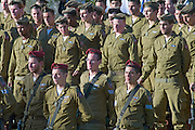 Israel, Jerusalem, Israeli Paratroopers ceremony at Ammunition hill (Hebrew: Giv'at HaTachmoshet) the site of one of the toughest battles during the Six Day War on June 6th 1967 now a national memorial site