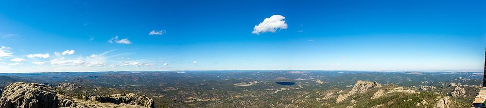 Panorama view from Black Elk Peak, looking southwest. Corner of lookout tower is in lower right hand corner. Photo taken September 30, 2017.