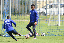 Cape Town-180823- Cape Town City players Thabo Nodada and Samora Motlou at training preparing for their up comingMTN 8 semi-final against Sundowns at Cape Town Stadum.Photographer :Phando Jikelo/African News Agency/ANA